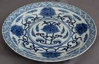 Chinese Qing Blue & White Porcelain Kangxi Marked Floral Dish