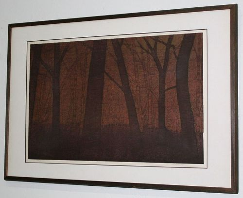 Large Ltd. Ed. Japanese Woodblock Print Ted Colyer Forest at Dusk