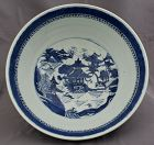 Chinese Qing Canton Nanking Blue & White Export Porcelain Punch Bowl