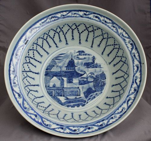Large Chinese Qing Blue & White Canton Export Porcelain Basin Bowl