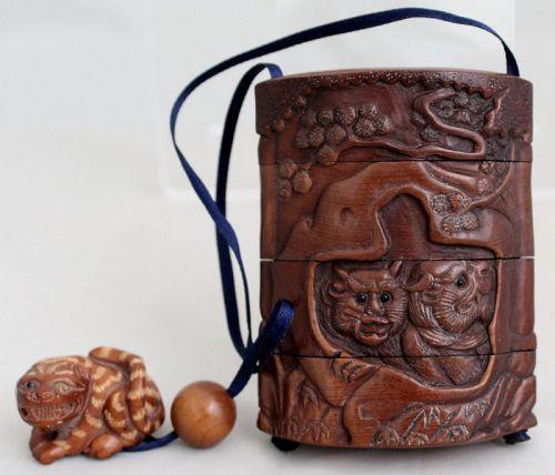 Japanese Meiji Carved Boxwood Inro Netsuke Oni Tiger Creatures Animals