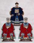 Massive Chinese Qing Ancestor Portrait Scroll Painting Mandarin Wives