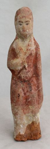 Chinese Tang Dynasty Female Pottery Standing Tomb Figure Attendant