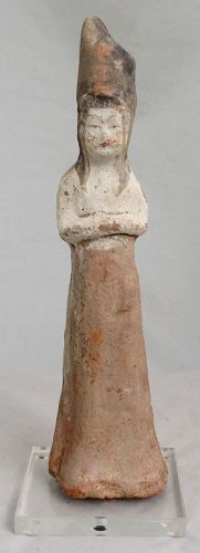 Chinese Tang Dynasty Pottery Court Lady Tomb Figure Attendant
