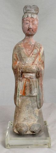 Chinese Tang Dynasty Pottery Civil Official Tomb Figure Attendant
