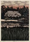 Japanese Limited Edition Woodblock Print Nishijima House Red Sky