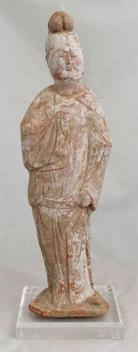 Chinese Tang Dynasty Fat Man Pottery Standing Tomb Figure Attendant