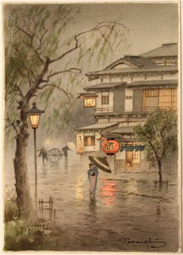 Japanese Watercolor Painting Village Rain Scene Fukutaro Terauchi