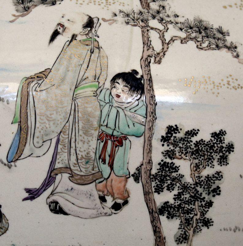 "Massive 17"" High Japanese Meiji Satsuma Koro Incense Daikoku's Bag"