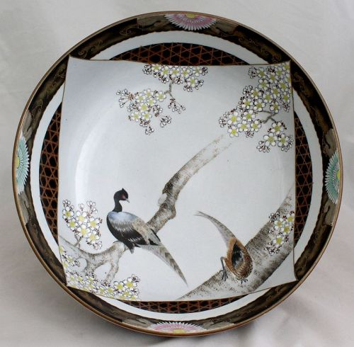 "Large 10 1/2"" Diameter Japanese Showa Period Deep Bowl Two Birds"