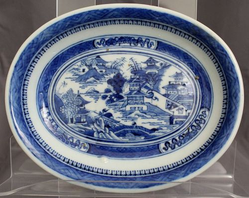 Chinese Qing Dynasty Nanking Blue White Export Porcelain Oval Dish