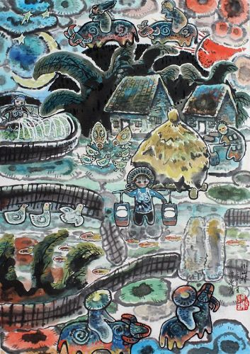 Chinese Longmen Folk Art Watercolor Gouache Painting Tan Chifa 1990