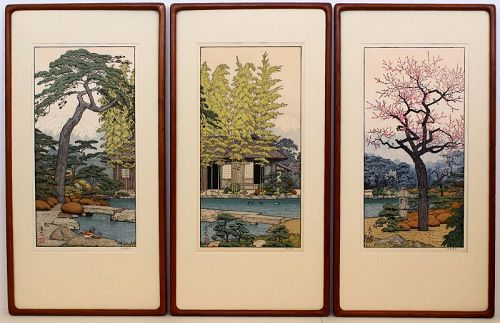Japanese Shin Hanga Woodblock Print Toshi Yoshida Friendly Garden Set