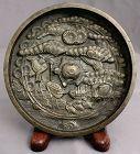 Japanese Edo Bronze Kagami Mirror Tortoise Crane Tenka Mark