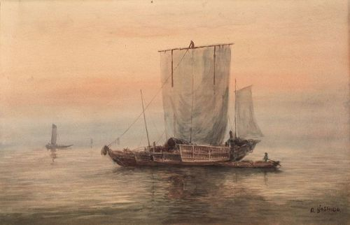 Japanese Watercolor Painting on Paper Signed A. Yoshida Sailing Boat