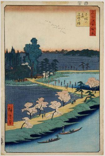 Japanese Edo Woodblock Print Hiroshige Azuma Shrine Hundred Views Edo