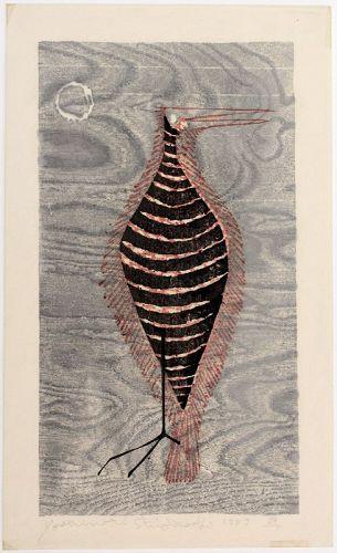 Rare Japanese Sosaku Hanga Woodblock Print Shiogoshi Yoshinori Bird