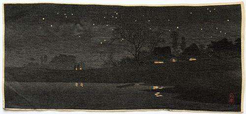 Pre-earthquake Japanese Woodblock Print Hiroaki Shotei Starlight Night