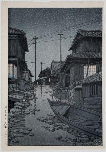 1st Ed. Japanese Woodblock Print Hasui Kawase Evening Rain Kawarago