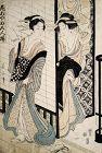 Japanese Edo Woodblock Print 1810s Eizan Yoshiwara Courtesans