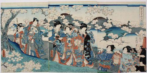 Japanese Edo Woodblock Print Triptych Kunisada Genji Mt. Yoshino Nara