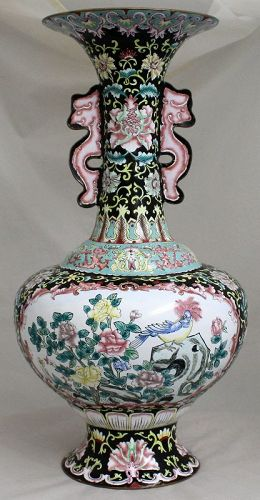 "18"" Tall Chinese Republic Period Canton Enamel Vase Bird Flower"
