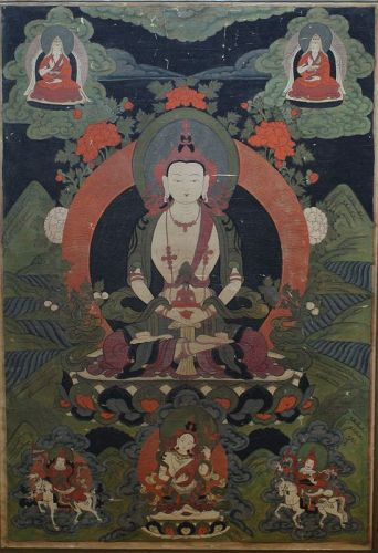 Large Tibetan Thangka Amitayus Seated on Lotus Throne, 19th Century