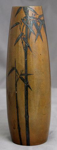 Japanese Meiji Bronze Silver Bamboo Vase Signed Kuroda & Mitsunobu