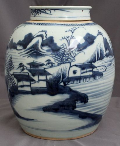 Large Chinese Qing Canton Blue White Export Porcelain Ginger Jar & Lid