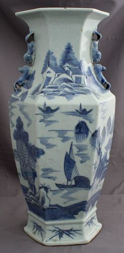 "15"" Chinese Qing Canton Blue & White Export Porcelain Faceted Vase"