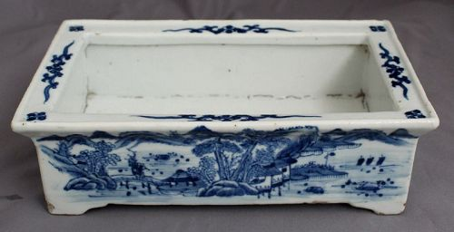 Chinese Qing Canton Nanking Blue White Export Porcelain Narcissus Dish