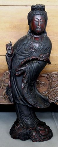 """24"""" High Vintage Chinese Lacquered Wood Standing Guanyin Figure"""
