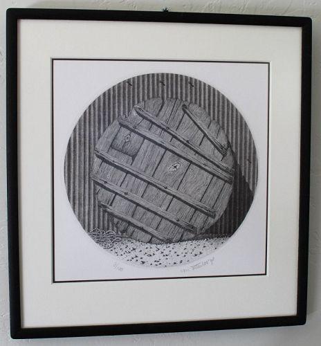 Ltd. Ed. Japanese Etching by Chris van Otterloo Tsukemono Barrel Lid
