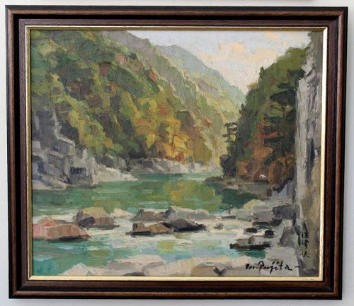 Japanese Showa Mid-Century Oil Painting of a Gorge Signed Fujita