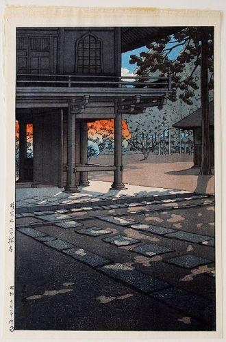 1st Ed. Japanese Woodblock Print Hasui Kawase Heirin Temple Nobidome