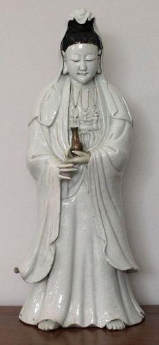"""20"""" Tall Chinese Qing Dynasty Qianlong Dehua Blanc de Chine Guanyin"""