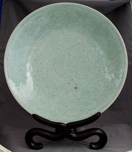 "15.5"" Diameter Chinese Qing Dynasty Carved Celadon Peony Charger"