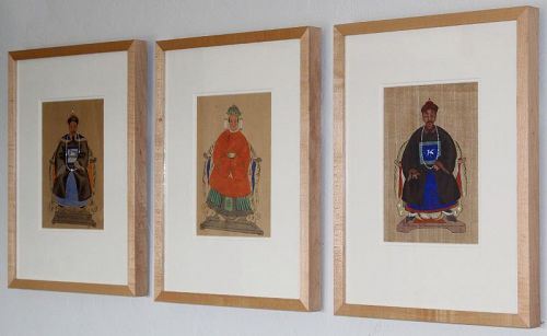 Three Archival Framed Chinese Qing Republic Ancestor Portrait Painting
