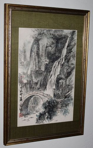 Liu Liangyou Vintage Chinese Ink & Color Painting Waterfall Dated 1977