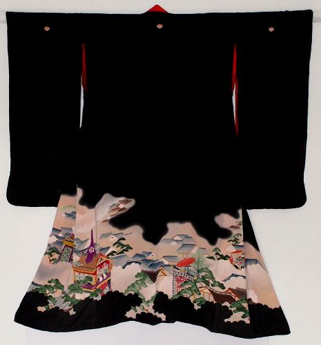 Japanese Vintage Showa Black Woman's Formal Kimono Ukiyo-e Scene