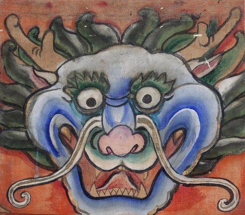 Korean Joseon Confucian Minhwa Folk Painting Scroll Filial Piety