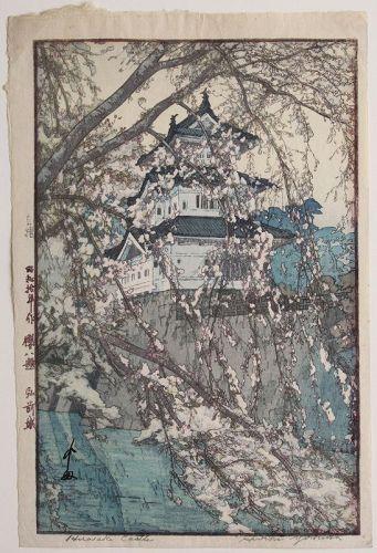 Japanese 1st Ed Woodblock Print Hiroshi Yoshida Hirosaki Castle Jizure
