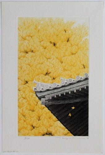 Large Japanese Ltd. Ed. Aquatint Etching Tanaka Ryohei Ginkgo Tree