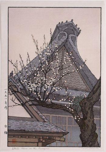 Pencil-signed Japanese Woodblock Print Toshi Yoshida White Plum