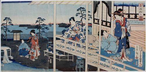 Japanese Edo Woodblock Print Genji Triptych Kunisada & Hiroshige II