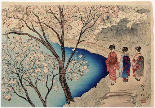 Japanese Taisho Woodblock Print Miki Suizan Arashiyama Spring 1st Ed.