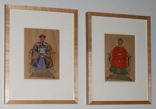 Two Archival Framed Chinese Qing Republic Ancestor Portrait Painting