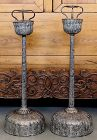 Pair Japanese Meiji Silverplate Temple Pricket Shokudai Candle Stands