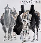 Chinese Watercolor Painting Liu Dawei Xinjiang Minority Girl Camels