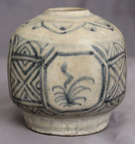 Vietnamese Blue and White Octagonal Form 15th Century Ceramic Jar